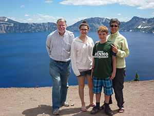 Donna Denno with her family in the mountains