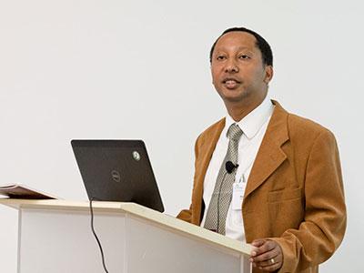 Daniel Enquobahrie giving a talk