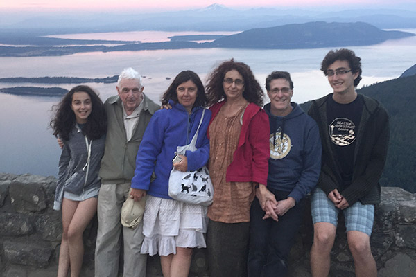 Joel Kaufman and family on island photo