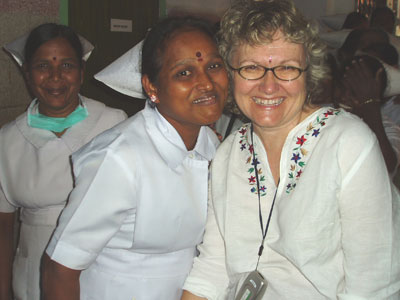 Anne Downer with Nurse in India
