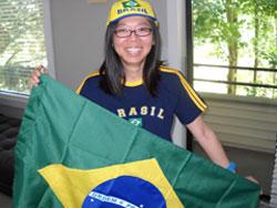 Lurdes with Brazil Football Regalia