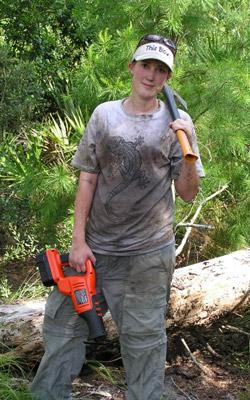 Lorelei doing field work