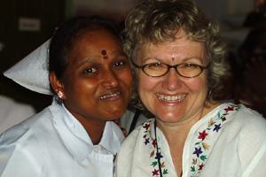 Ann Downer and nurse photo