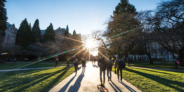 Students walking in quad towards the sunset