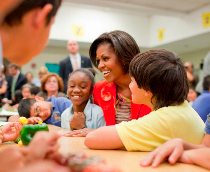 MIchelle Obama with school kids
