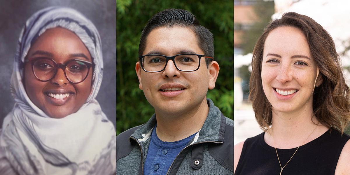 Portraits of students Sumaya Mohamed, Antonio Olivas-Martinez, and Martell Hesketh