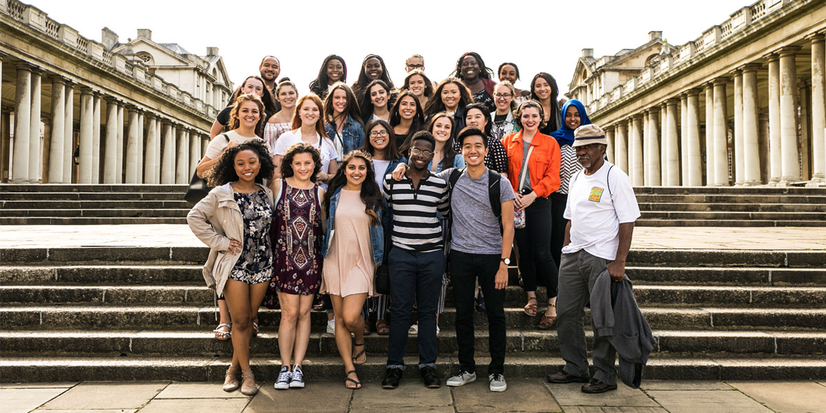 Students pose at the University of Greenwich in London