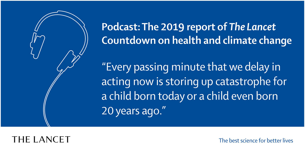 Graphic promoting The Lancet podcast episode on health and climate change