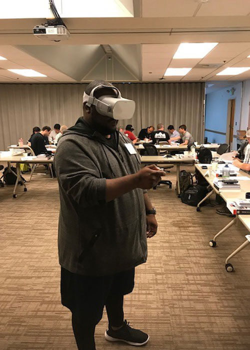 Trainee uses VR in a course at the Pacific Northwest Occupational Safety and Health Administration Education Center