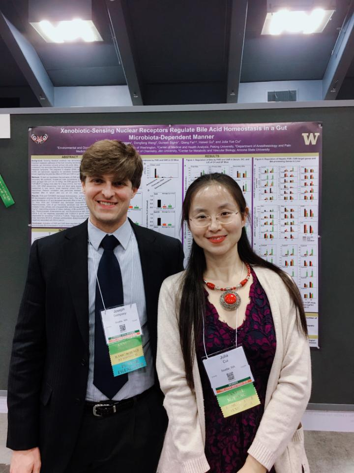 Joe Dempsey with Julia Cui at The Liver Meeting.