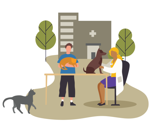 Illustration of young adult stoping by vet with a cat and dog