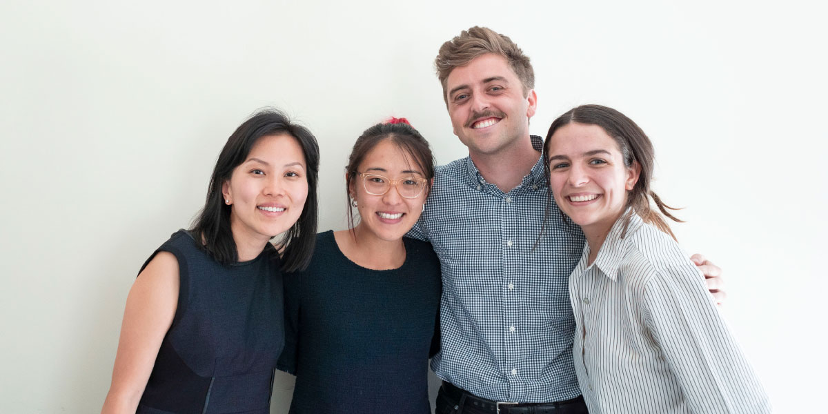 The Population Health Initiative's Applied Research Fellows (L-R): Michelle Shin, Jane Kim (School of Nursing); Matt Driver, Claire Branley (School of Public Health). Not pictured: Hilary Wething (Evans School of Public Policy and Governance); Kiana Rahni (College of Arts and Sciences).