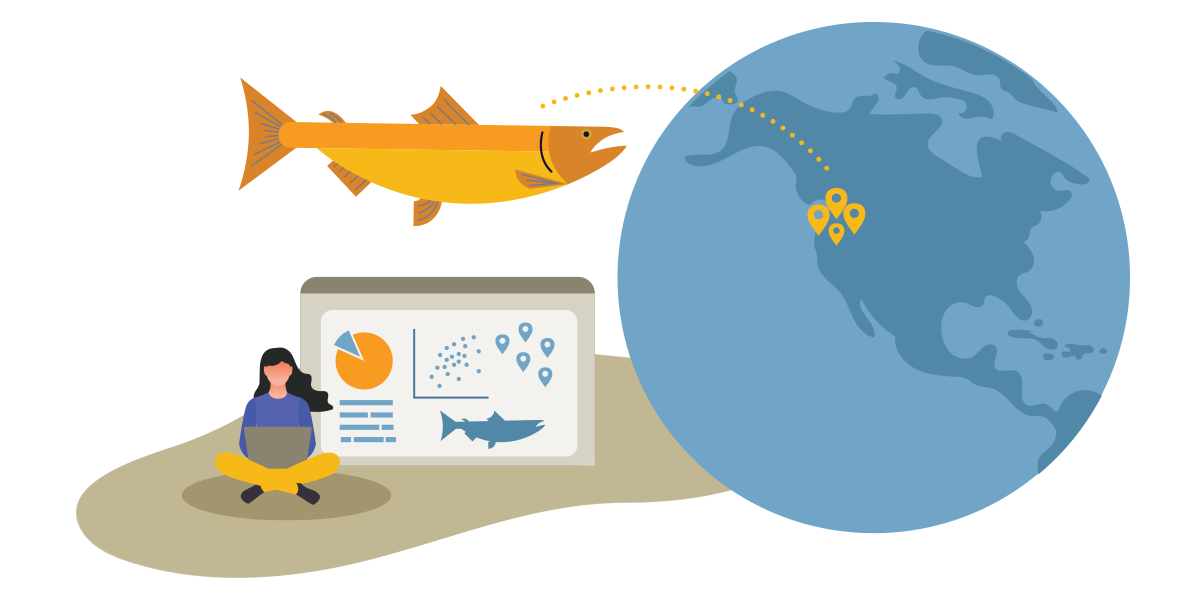 Illustration of a fish above a researcher on computer next to a globe with the west coast of the United States emphasized