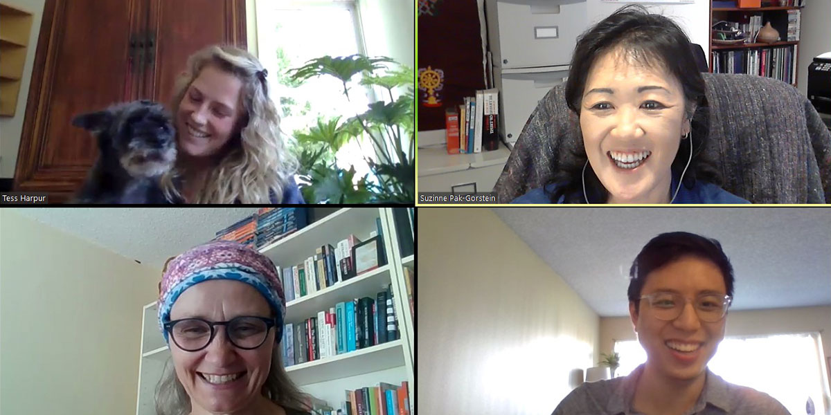 Clockwise from top left to right: Tess Harpur, Suzinne Pak-Gorstein, William Tsang and Sara Mackenzie during an instructor Zoom meeting.